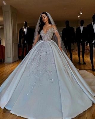 Luxury Jewel Long Sleeve Crystal Beaded Pleated Ball Gown Wedding Dresses_3