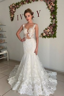 Straps Jewel Applique Tulle Fit And Flare Pleated Mermaid Wedding Dresses_1