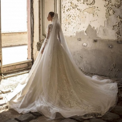 Alluring Deep V Neck Applique Pleats A Line Wedding Dresses | Floral Bridal Gown_4