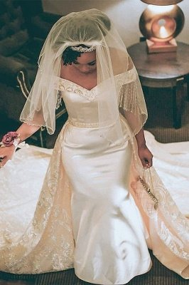 Off The Shoulder Sweetheart Applique Beaded Mermaid Wedding Dresses With Detachable Skirt_1