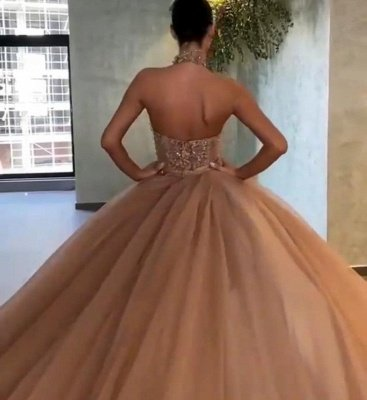 Puffy Halter Applique Ball Gown Prom Dresses | Backless Sequin Evening Dresses_3