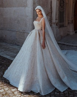 Gorgeous Straps Backless Crystal Sequined Pleated Ball Gown Wedding Dresses_2