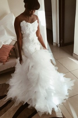 African Jewel Floral Mermaid Wedding Dresses | Sheer Ruffles Fitted Wedding Gown