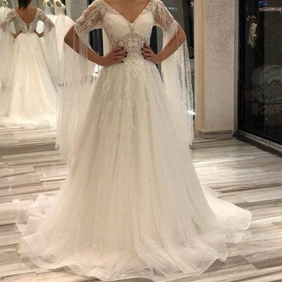 Off The Shoulder V Neck Lace A Line Wedding Dresses   Sequin Wedding gown_2