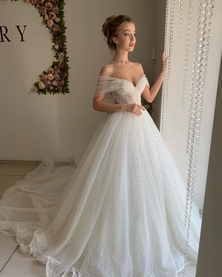 Sexy Off The Shoulder Sweetheart Backless Pleated Tulle A  Line Wedding Dresses_4