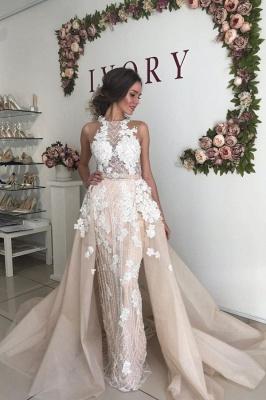Sexy High Neck Open Back Floral Crystal Pearls Sash Detachable Skirt Sheath Wedding dresses_1