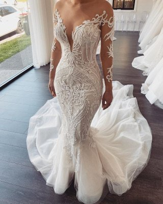 Elegant Jewel Long Sleeve Nude See Through Back Applique Fitted Mermaid Wedding Dresses_2