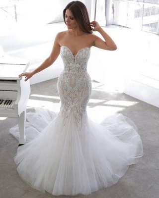 Sexy Sweetheart V Neck Backless Applique Lace Wedding Dress   Fitted Mermaid Gown_2