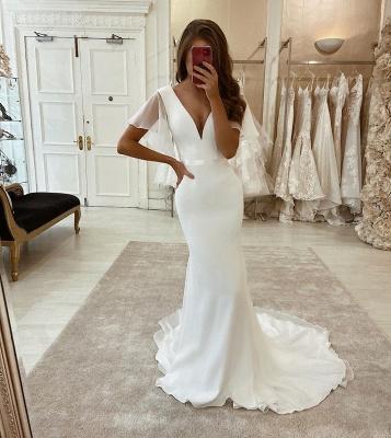 Graceful Short Sleeve Plunging V Neckline Sash Organza Mermaid Wedding Dresses_2