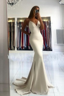 Spaghetti Strap V Neck Fitted Floor Length Mermaid Prom Dresses