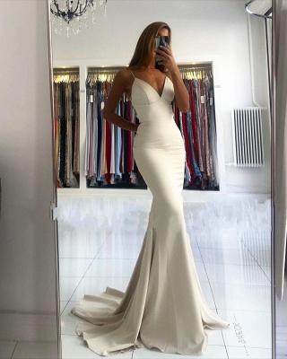 Spaghetti Strap V Neck Fitted Floor Length Mermaid Prom Dresses_2
