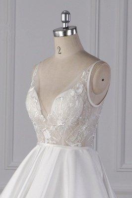 Beautiful Sleek Satin White Appliques Wedding Dresses Long_5
