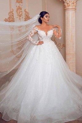 Elegant Long Sleeve Jewel Floral Applique Ball Gown Wedding Dress_1
