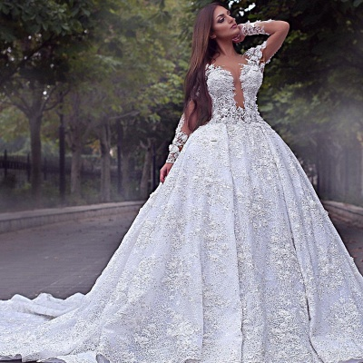 Long Sleeve Jewel Lace Crystal Wedding Dresses | A Line Backless Wedding Gown_2