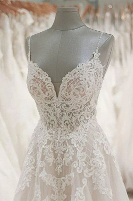 V Neck Spaghetti Strap Lace Wedding Dresses | A Line Wedding Gown_4