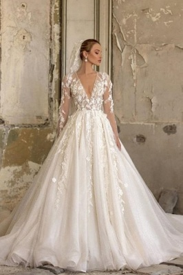 Alluring Deep V Neck Applique Pleats A Line Wedding Dresses | Floral Bridal Gown