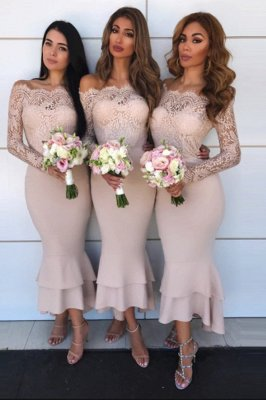 Sexy Lace Mermaid Bridesmaid Dresses | Off-the-shoulder Long Sleeves Wedding Party Dresses