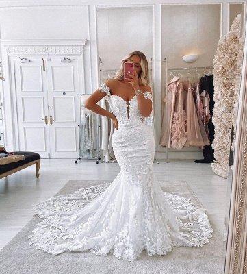 Unique Sweetheart Off The Shoulder Lace Mermaid Wedding Dresses_3