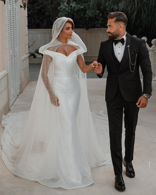 Chic Sweetheart Off The Shoulder Sash Crystal Sequin Floor Length Sheath Wedding dresses With Shawl_7