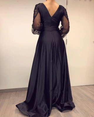 Sexy Deep V Neck Beackless Long  Sleeve Lace Side Slit  A Line Prom Dresses With Sash_3