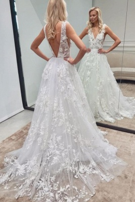 Beautiful Long V-neck A-line Tulle Lace Backless Wedding Dress