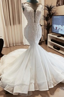 Sexy Deep V Neck Applique Beaded Fit And Flare Mermaid Wedding Dresses_1
