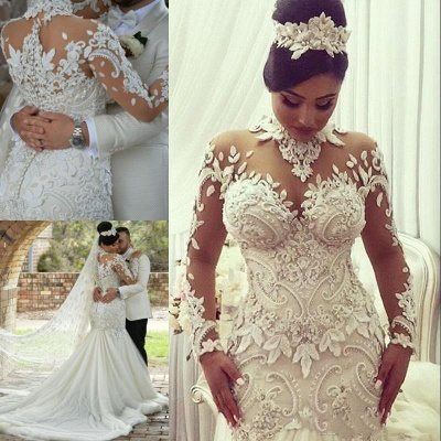 High Neck Lace Appliques Mermaid Wedding Dresses with Long Sleeves_4