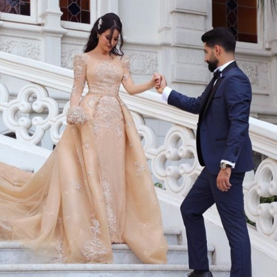 Gorgeous Long Sleeve Applique Detachable Skirt Sheath Wedding Dresses_4