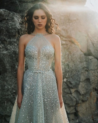 Sexy Halter Sleeveless Sequin Tulle A Line Floor Length Wedding Dress_2
