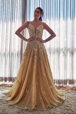 Gold Spaghetti Strap Applique A Line Prom Dresses | V Neck Crystal Sequin  Long Evening Dresses_1