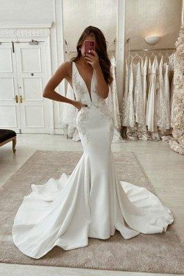 Elegant Long Mermaid Satin Backless V-neck Wedding Dress
