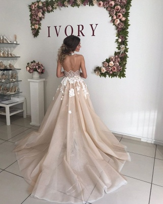 Sexy High Neck Open Back Floral Crystal Pearls Sash Detachable Skirt Sheath Wedding dresses_5