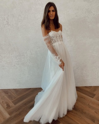 Off The Shoulder Backless Applique Tulle A Line Wedding Dresses_2