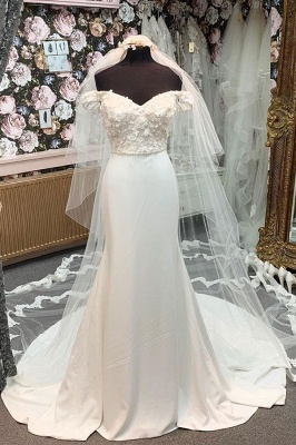Simple Style Off The Shoulder Sweetheat Applique Beaded Sash Court Train Sheath Wedding Dresses_1
