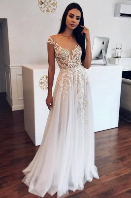 Sheer Neckline Cap Sleeve Applique A Line Wedding Dresses | Floor Length Wedding Gown