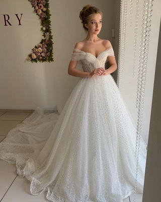 Sexy Off The Shoulder Sweetheart Backless Pleated Tulle A  Line Wedding Dresses_3
