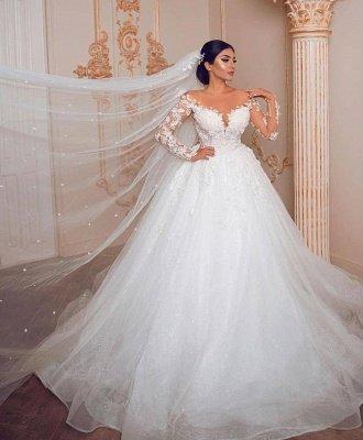 Elegant Long Sleeve Jewel Floral Applique Ball Gown Wedding Dress_2