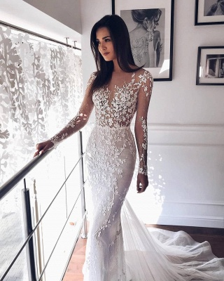 Sparkly Jewel Long Sleeve Applique Crystal Sequin Sash Sheath Floor Length  Tulle A Line Wedding Dresses_2
