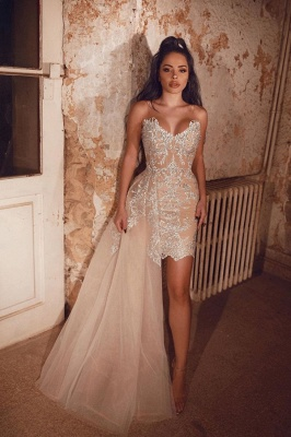 Sexy Sweetheart Applique Beading Sheath Prom Dresses | Detachable Skirt Party Dresses