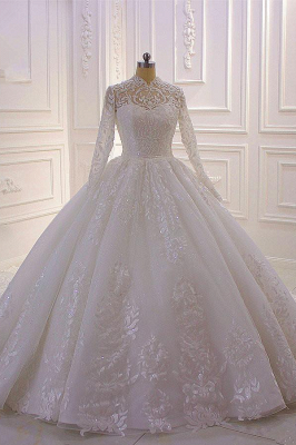 Gorgeous Long Sleeve High Neck Applique Ball Gown Wedding Dresses | Sequin Floor Legnth Wedding Gown