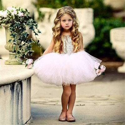 Princess Sequin Ball Gown Flower Girl Dresses | Knee Length Kids Party dresses_3