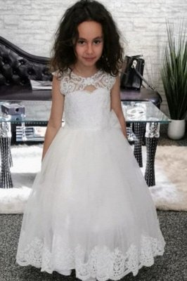 Lovely Jewel Cap Sleeve keyhole Back Applique A Line Flower Girl Dresses