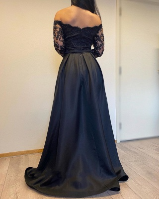 Off The Shoulder Backless  Long  Sleeve Lace Sequin A Line Prom Dresses With Sash_4