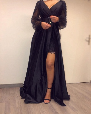 Sexy Deep V Neck Beackless Long  Sleeve Lace Side Slit  A Line Prom Dresses With Sash_4
