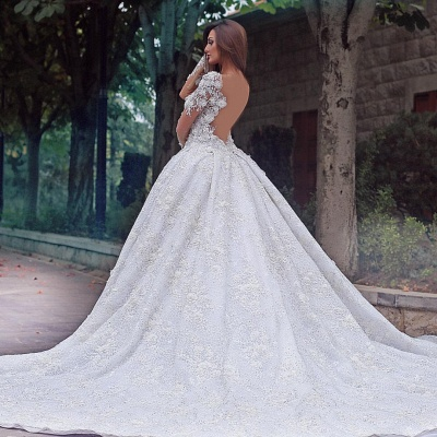 Long Sleeve Jewel Lace Crystal Wedding Dresses | A Line Backless Wedding Gown_3