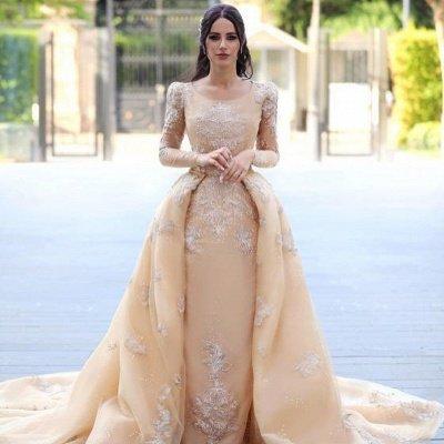 Gorgeous Long Sleeve Applique Detachable Skirt Sheath Wedding Dresses_3