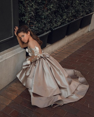 Luxury Long Sleeve applique Crystal Ball Gown Flower Girl Dresses_5