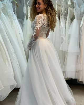 Elegant Jewel Long Sleeve Full Back Lace Pleated A Line Wedding Dresses_6