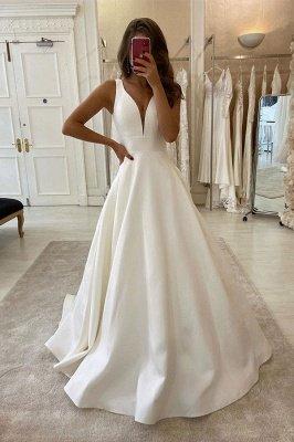 Straps V Neack Sash Pleated Satin A Line Wedding Dresses