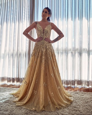 Gold Spaghetti Strap Applique A Line Prom Dresses | V Neck Crystal Sequin  Long Evening Dresses_2